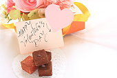 raw chocolate and flower