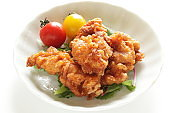 Homemde fried chicken and tomato