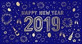 New Year's Eve hand-drawn card 2019