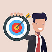 Businessman or manager pointing to the big target. Happy man dressed in a business suit. Flat vector illustration.