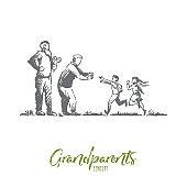 Grandparents, grandchildren, family, generation concept. Hand drawn isolated vector.