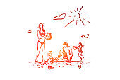 Family, rest, beach, summer, vacation concept. Hand drawn isolated vector.