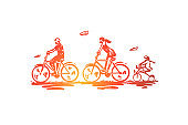 Bicycle, walk, sport, family, active concept. Hand drawn isolated vector.