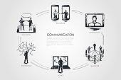 Communication - exchange, information, teamwork, advice, technology set concept.