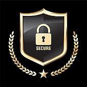 Golden Security Shield illustration vector
