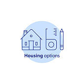 Home improvement, real estate estimation concept, house renovation and modernization, housing options, vector stroke icon