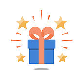 Present box with ribbon, shining gift with stars, surprising big gift, reward program, special prize