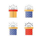 Congratulations gift box, perfect present, prize award icon