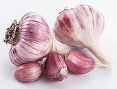 Garlic bulbs and garlic cloves.