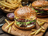 Hamburgers and French fries.