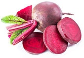 Red beet or beetroot with slices.