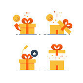 Prize give away, surprising gift, emotional present, fun experience, gift idea concept, flat icon