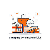 Discount store, special offer, shop sale announcement, advertising and promotion, clothes and shoes