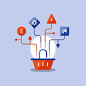 Basket icon, marketing strategy plan, sales improvement, online shopping, e-commerce, vector icon