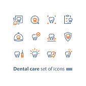 Stomatology services, dental care, prevention check up, hygiene and treatment, line icons
