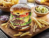 Big hamburger and French fries.