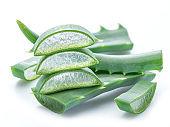 Aloe or Aloe vera fresh leaves and slices.