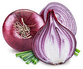 Red onion bulb and cross sections of onion.