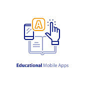 Smartphone app for learning, educational mobile application, line icon