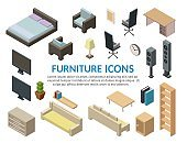 Isometric low poly elements of bedroom and living room big set