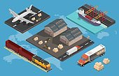 Logistics low poly isometric illustration with transportation process global network.