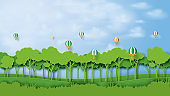 01.Green forest and blue sky paper art style