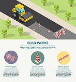 Isometric low poly Asphalt compactor road under construction repair road infographic.