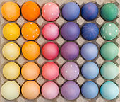 Above view of easter eggs in rainbow colors in big egg box