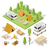 Isometric camping and hiking illustration picnic vector