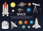Big set of Solar system Space Shuttle Illustration and astronomy observatory the science background objects