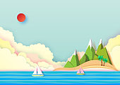Summer island and travel concept design.