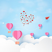 Love concept and Happy Valentines Day greeting card vector template.