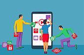 Interface development, design mobile app