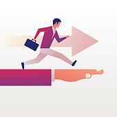 Running forward. Businessman with briefcase.