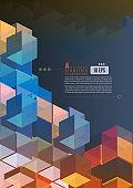 Colorful 3D vector geometric cube on dark BG