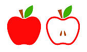 Red apple vector icon. Whole and half apples. Flat vector illustration.