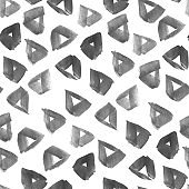 Ink hand drawn abstract triangles seamless pattern