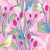 Bright spring seamless design with tulips, butterflies and birds