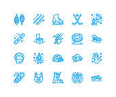 Winter sports vector flat line icons. Outdoor activities equipment snowboard, hockey, sled, skates, snow tubing, ice kiting. Linear pictogram with editable stroke for ski resort. Pixel perfect 64x64