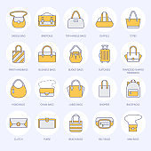 Women handbags flat line icons. Bags types - crossbody, backpacks, clutch, totes, hobo, leather briefcase, luggage. Trendy accessories colored thin linear signs for fashion store