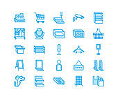 Retail store supplies line icons. Trade shop equipment signs. Commercial objects - cash register, basket, scales, shopping cart, shelving, display cases. Pixel perfect 64x64