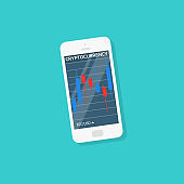 flat style web banner on mobile stock trading concept, online trading, stock market analysis, business and investment, forex exchange