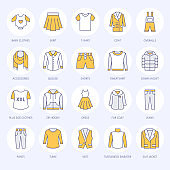 Clothing, fasion flat line icons. Mens, womens apparel - dress, down jacket, jeans, underwear, sweatshirt, fur coat. Colored thin linear signs for clothes and accessories store
