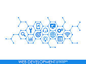 Web development progress concept. Connected graphic design line growth system. Abstract background for seo, website, app design. Vector Infograph.