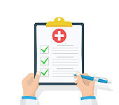 Doctor hold clipboard and takes notes on it. Medical report. Checklist. Flat design, vector illustration on background. Best quality.