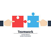 Teamwork concept. Businessmen holding a jigsaw puzzle. Strategy and solution. Cooperation, combining. Vector illustration.