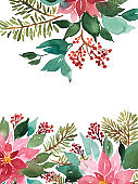 Watercolor template with Christmas evergreens. Poinsettia, spruce and red berries floral arrangement