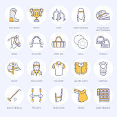 Horse polo flat line icons. Vector illustration of horse sport game, equestrian equipment saddle, leather boots, harness, spurs. Linear colored sign set, championship pictograms for event, gear store