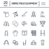 Horse polo flat line icons. Vector illustration of horses sport game, equestrian equipment - saddle, leather boots, harness, spurs. Linear signs set, championship pictograms for event, gear store