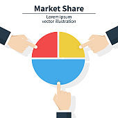 Business market share concept. Businessman holding in hand pie chart. Financial, share profit. Vector illustration flat design.